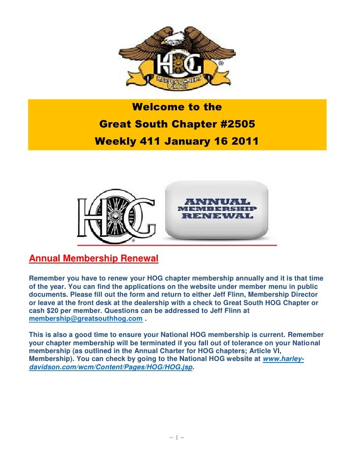 Welcome to the                    Great South Chapter #2505                   Weekly 411 January 16 2011Annual Membership ...