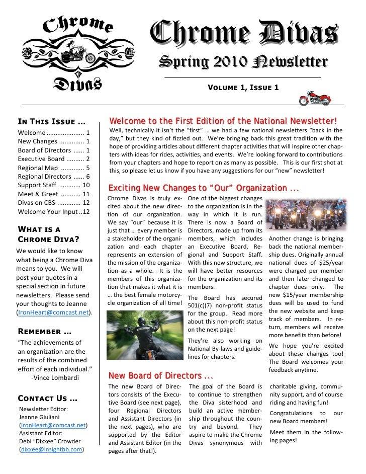 Chrome Divas                                                            Spring 2010 Newsletter                            ...