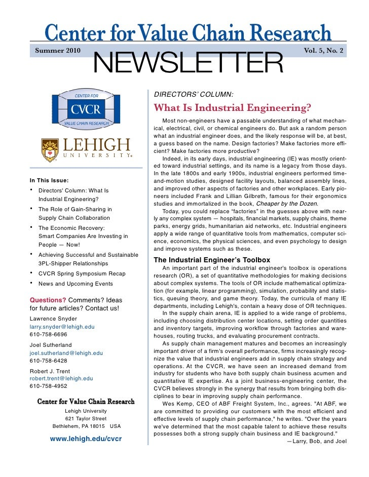 Center forValue Chain Research                        NEWSLETTER     Summer 2010                                          ...