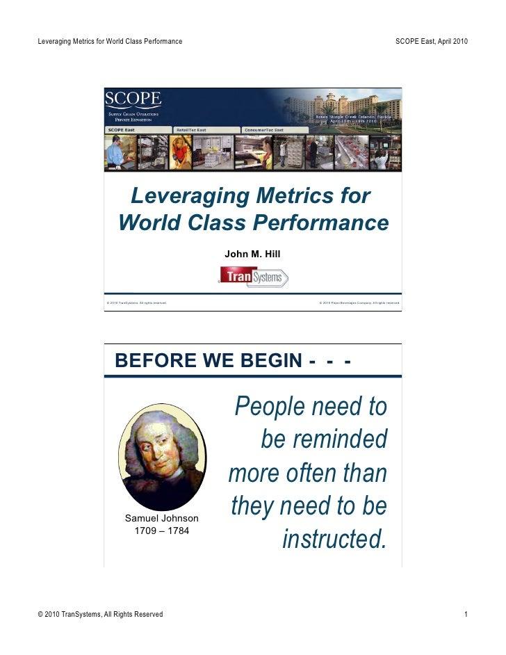 Leveraging Metrics for World Class Performance                                                                            ...