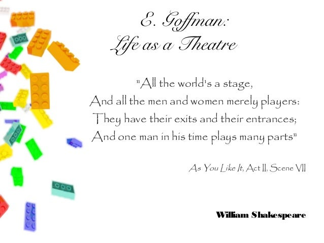 """E. Goffman:    Life as a Theatre         """"All the worlds a stage,And all the men and women merely players:They have their ..."""