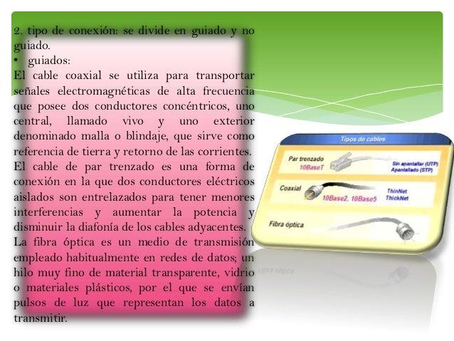 2. tipo de conexión: se divide en guiado y no guiado. • guiados: El cable coaxial se utiliza para transportar señales elec...