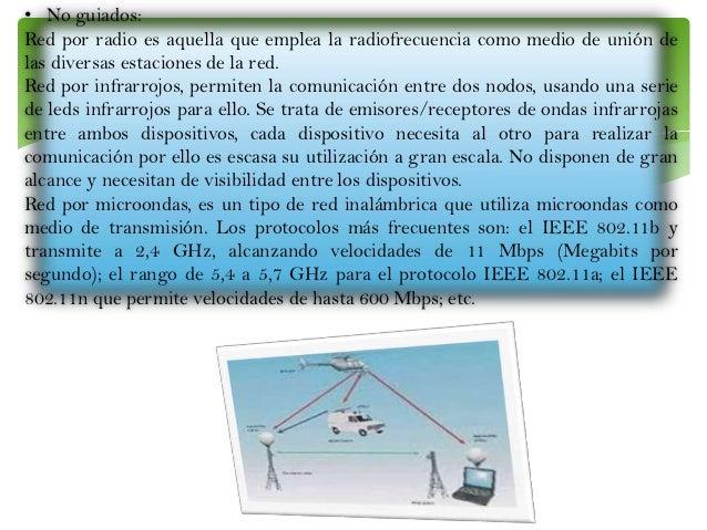 • No guiados: Red por radio es aquella que emplea la radiofrecuencia como medio de unión de las diversas estaciones de la ...