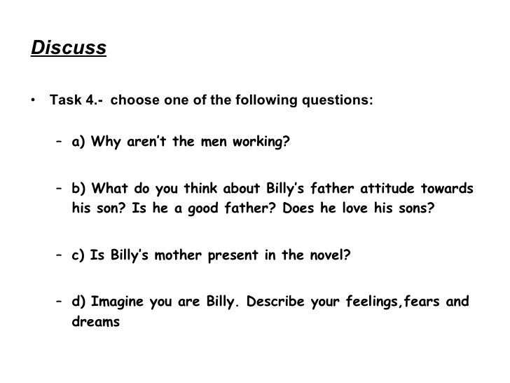 billy elliot powerpoint Or maybe your life isn't right out of bend it like beckham or billy elliot,  and feminist theory has lots of tools to help you understand what your gender means to.