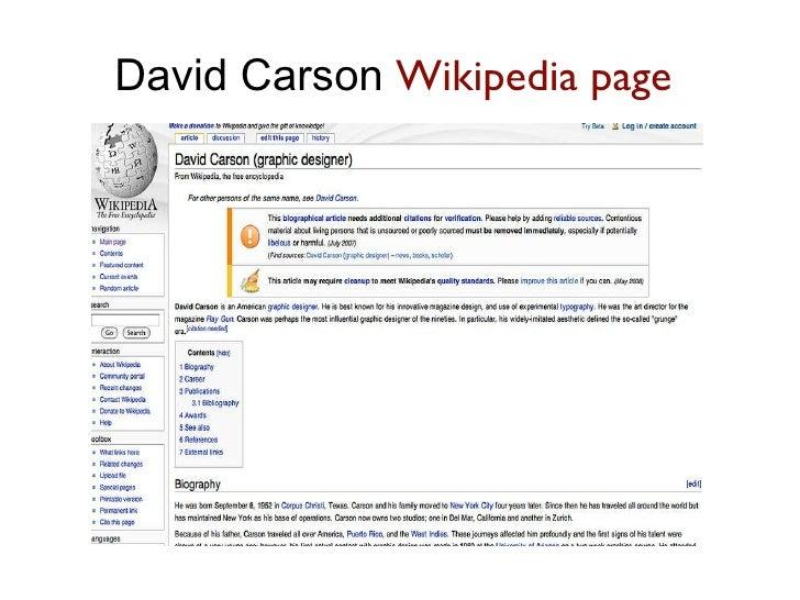 David Carson  Wikipedia page