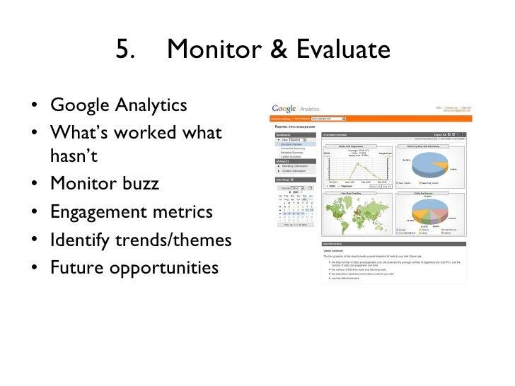 5. Monitor & Evaluate   <ul><li>Google Analytics  </li></ul><ul><li>What's worked what hasn't  </li></ul><ul><li>Monitor b...