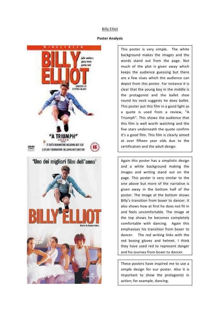 Billy Elliot<br />Poster Analysis <br />This poster is very simple.  The white background makes the images and the words s...