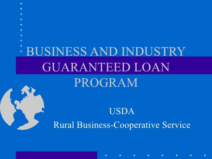 BUSINESS AND INDUSTRY GUARANTEED LOAN PROGRAM USDA Rural Business-Cooperative Service