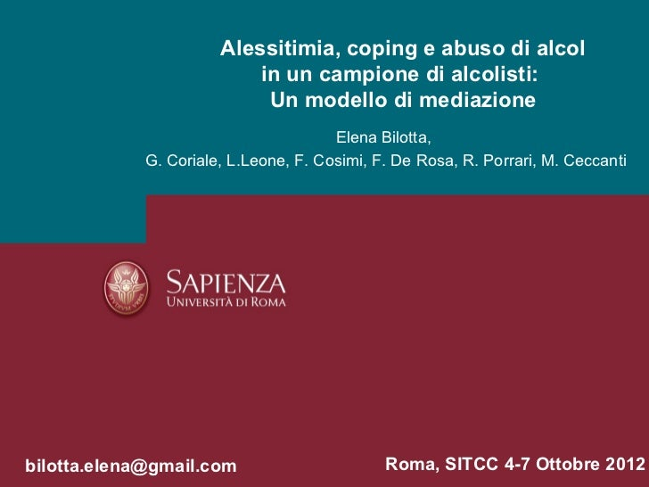 Alessitimia, coping e abuso di alcol                           in un campione di alcolisti:                            Un ...