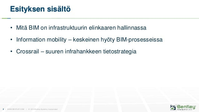 Bentley BIM esittely InfraBIM-koulutus 2014/10 Slide 2