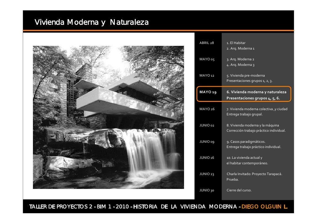Vivienda Moderna y Naturaleza     TALLER DE PROYECTOS 2 - BIM 1 - 2010 - HISTORIA DE LA VIVIENDA MODERNA - DIEGO OLGUIN L.