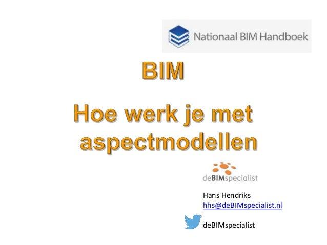Hans Hendriks hhs@deBIMspecialist.nl deBIMspecialist