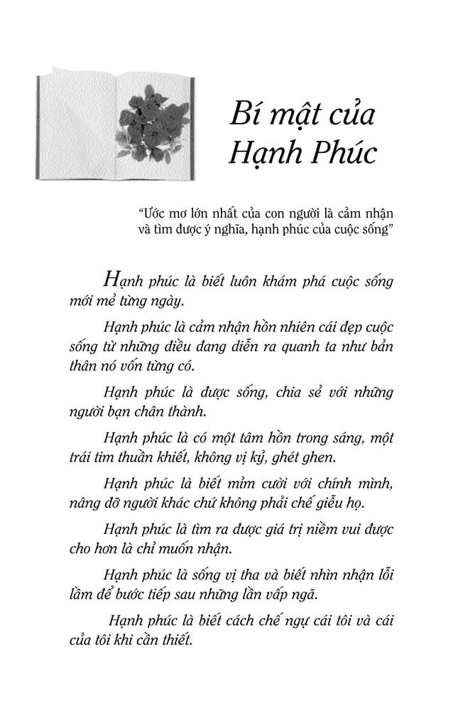 BÍ MAÄT CUÛA HAÏNH PHUÙC Haïnh phuùc laø daùm yeâu, ñöôïc yeâu vaø daùm soáng cho moät tình yeâu chaân thaønh, cho duø chæ...