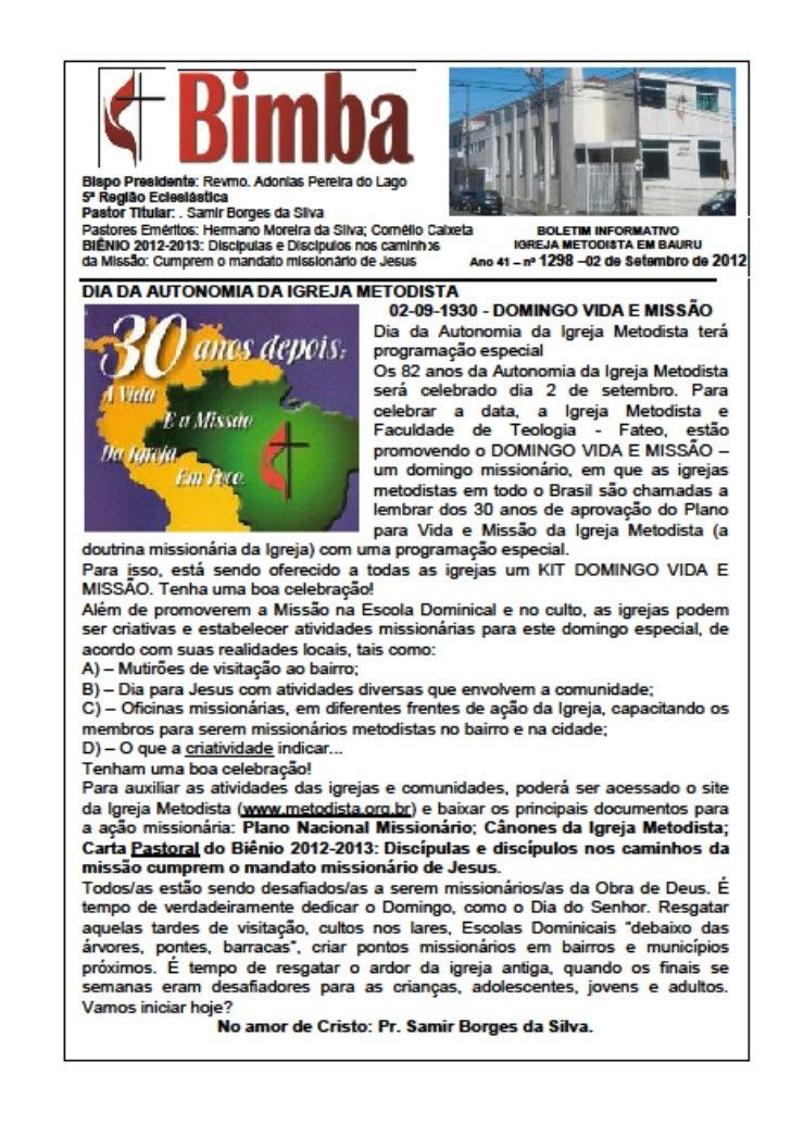 Bimba 02 09 2012  dia da autonomia da igreja metodista