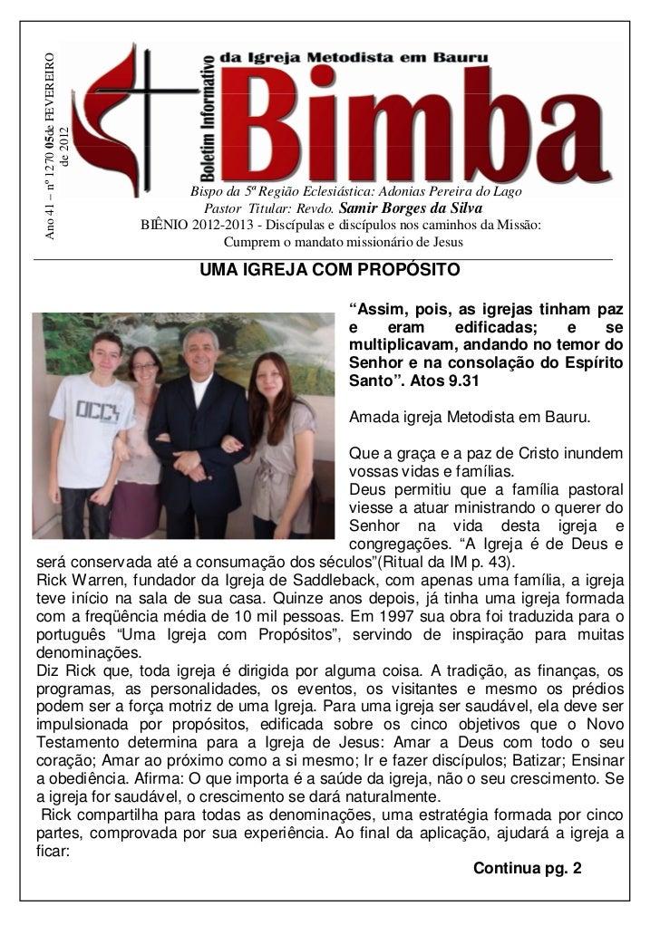 Ano 41 – nº 1270 05de FEVEREIRO               de 2012                                          Bispo da 5ª Região Eclesiás...