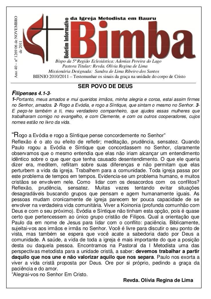 Ano 40 – nº 1269 06 de NOVEMBRO               de 2011                                             Bispo da 5ª Região Ecles...