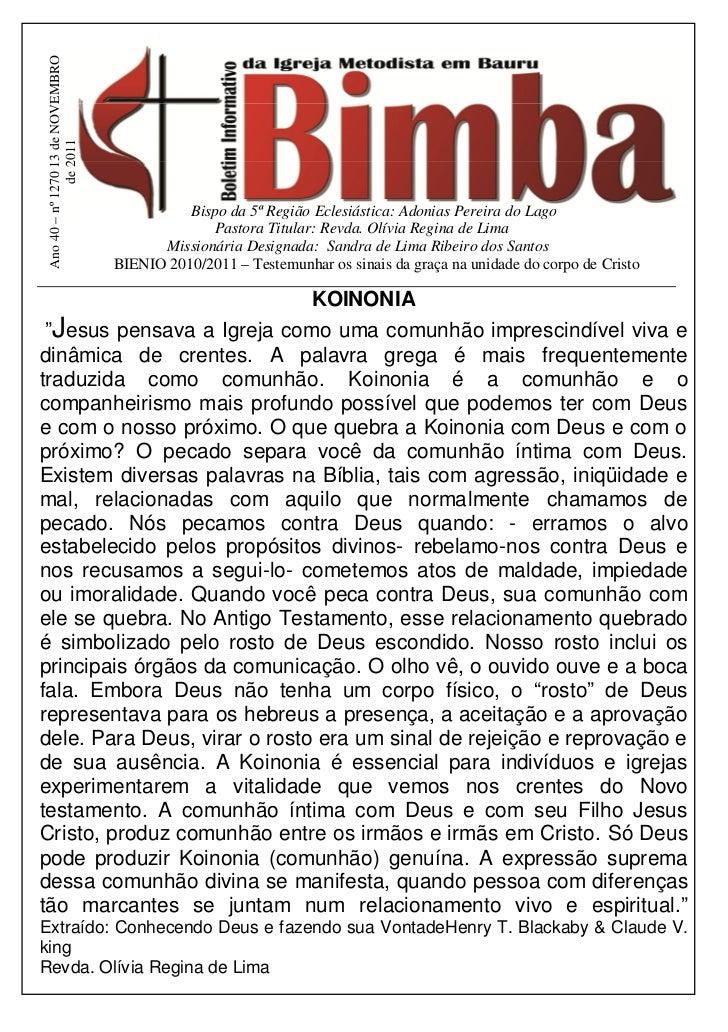 Ano 40 – nº 1270 13 de NOVEMBRO               de 2011                                             Bispo da 5ª Região Ecles...