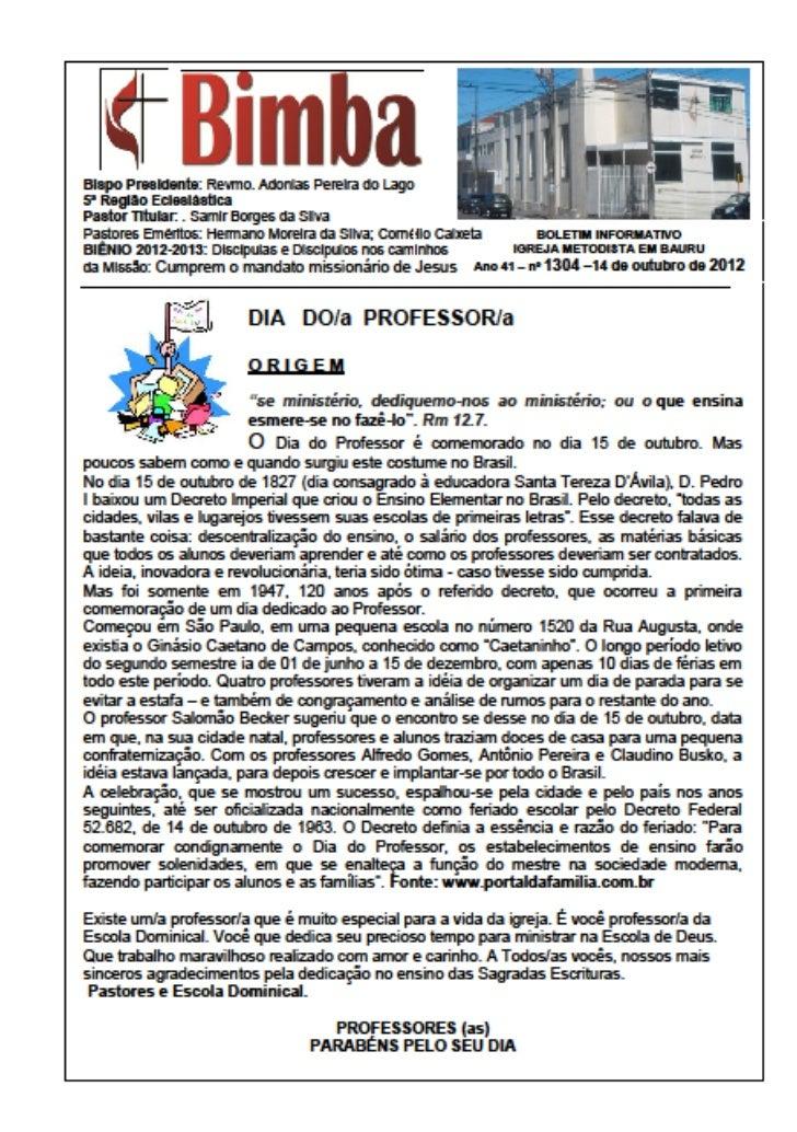 Página ENCARTE ......      informações e sociais .......            14/10/2012OFERTA MISSIONÁRIA REGIONALQuarto domingo – ...