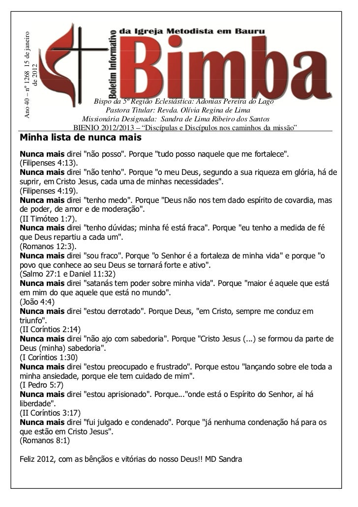 Ano 40 – nº 1268 15 de janeiro            de 2012                                       Bispo da 5ª Região Eclesiástica: A...