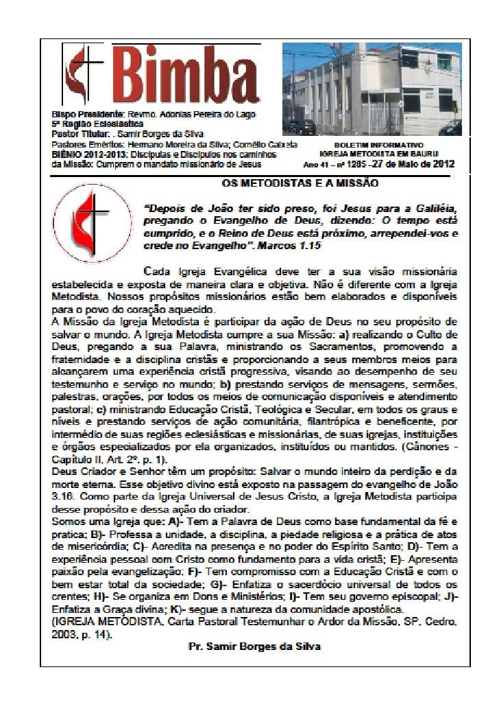 Bimba online 27 05 2012  os metodistas e a missão