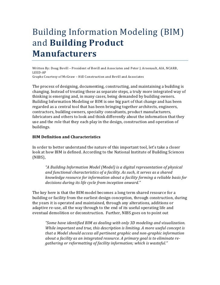 Building Information Modeling (BIM) and Building Product Manufacturers Written By: Doug Bevill – President of Bevill and A...