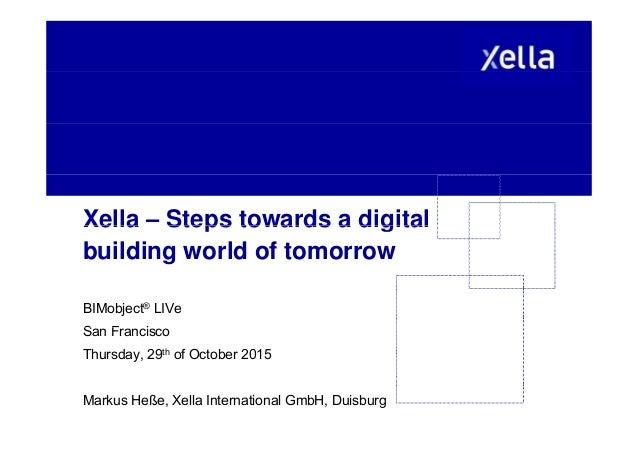 Xella – Steps towards a digitalXella Steps towards a digital building world of tomorrow BIMobject® LIVe S F iSan Francisco...