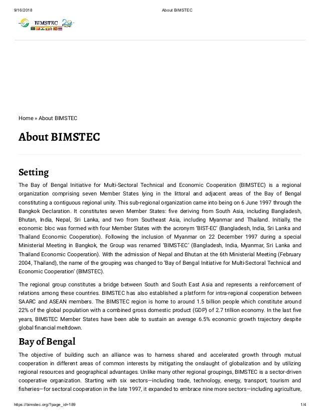 BIMSTEC AND MYANMAR