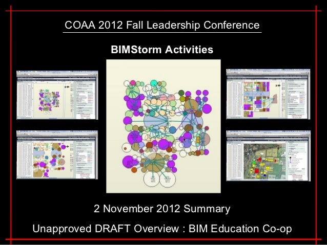 COAA 2012 Fall Leadership Conference              BIMStorm Activities           2 November 2012 SummaryUnapproved DRAFT Ov...