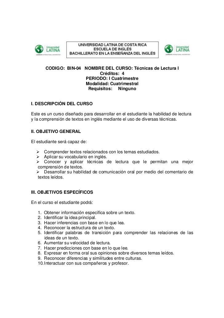 CODIGO: BIN-04 NOMBRE DEL CURSO: Técnicas de Lectura I                             Créditos: 4                       PERIO...
