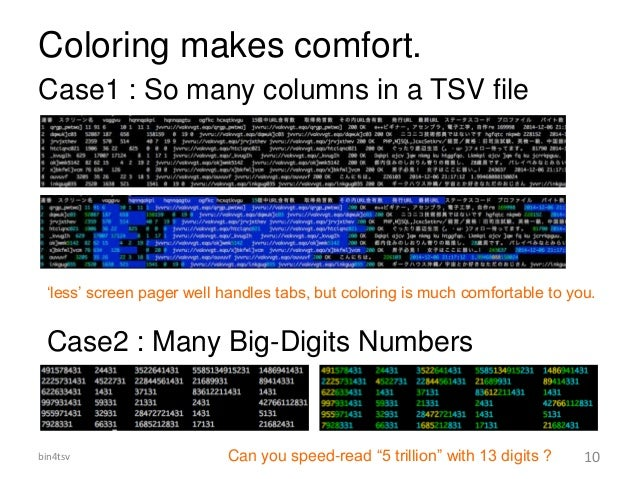 """Coloring makes comfort. Case1 : So many columns in a TSV file Case2 : Many Big-Digits Numbers Can you speed-read """"5 trilli..."""
