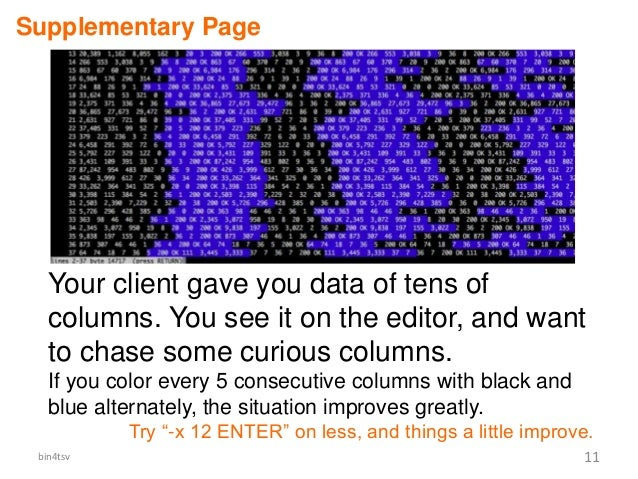 bin4tsv 11 Supplementary Page Your client gave you data of tens of columns. You see it on the editor, and want to chase so...