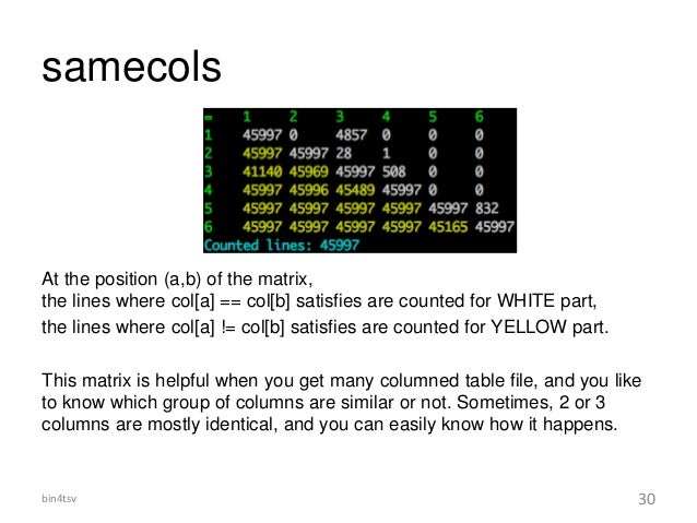 samecols At the position (a,b) of the matrix, the lines where col[a] == col[b] satisfies are counted for WHITE part, the l...