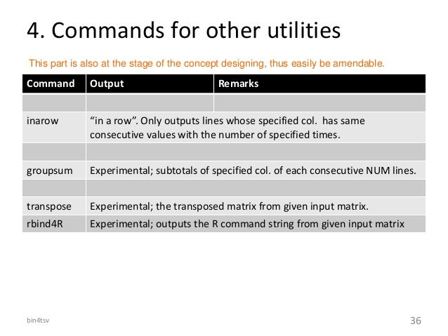 """4. Commands for other utilities Command Output Remarks inarow """"in a row"""". Only outputs lines whose specified col. has same..."""