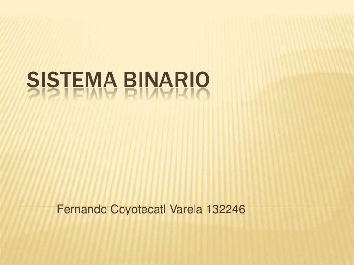 Sistema binario<br />Fernando Coyotecatl Varela 132246<br />