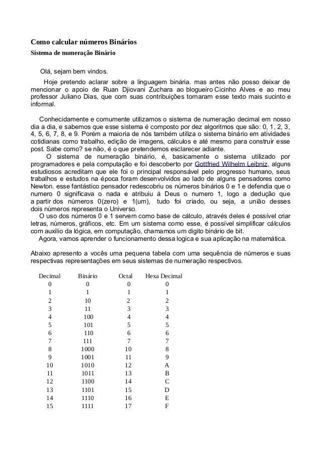 Como calcular números Binários Sistema de numeração Binário Olá, sejam bem vindos. Hoje pretendo aclarar sobre a linguagem...