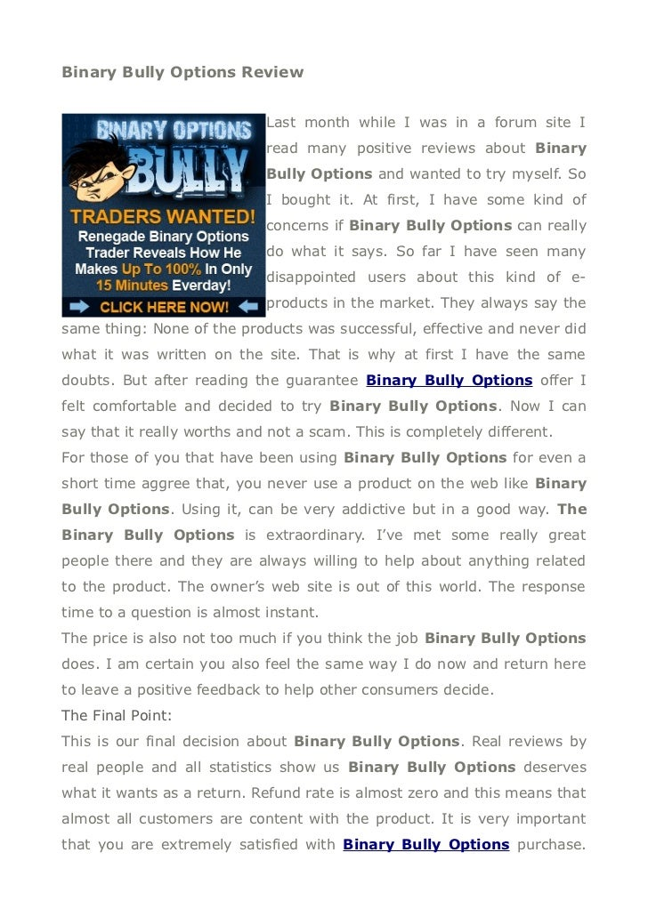 Binary options bully results movie forking crypto currency news