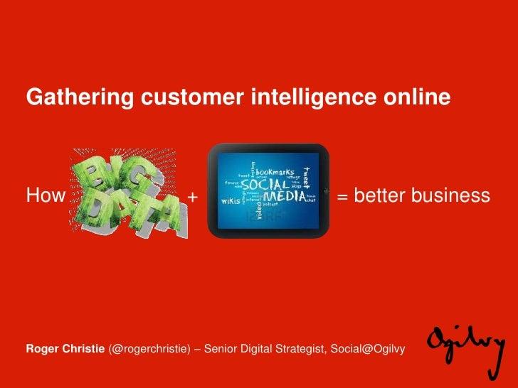 Gathering customer intelligence onlineHow                            +                            = better businessRoger C...