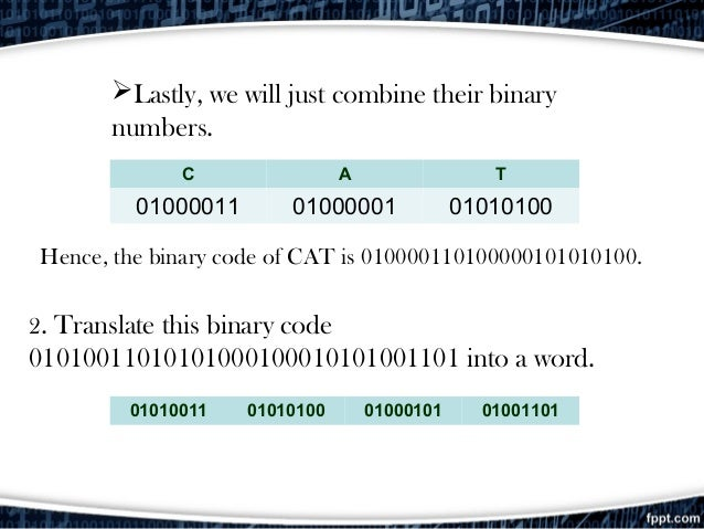 Lastly, we will just combine their binary numbers. C A T 01000011 01000001 01010100 Hence, the binary code of CAT is 0100...