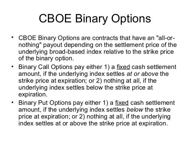 Binary option cboe