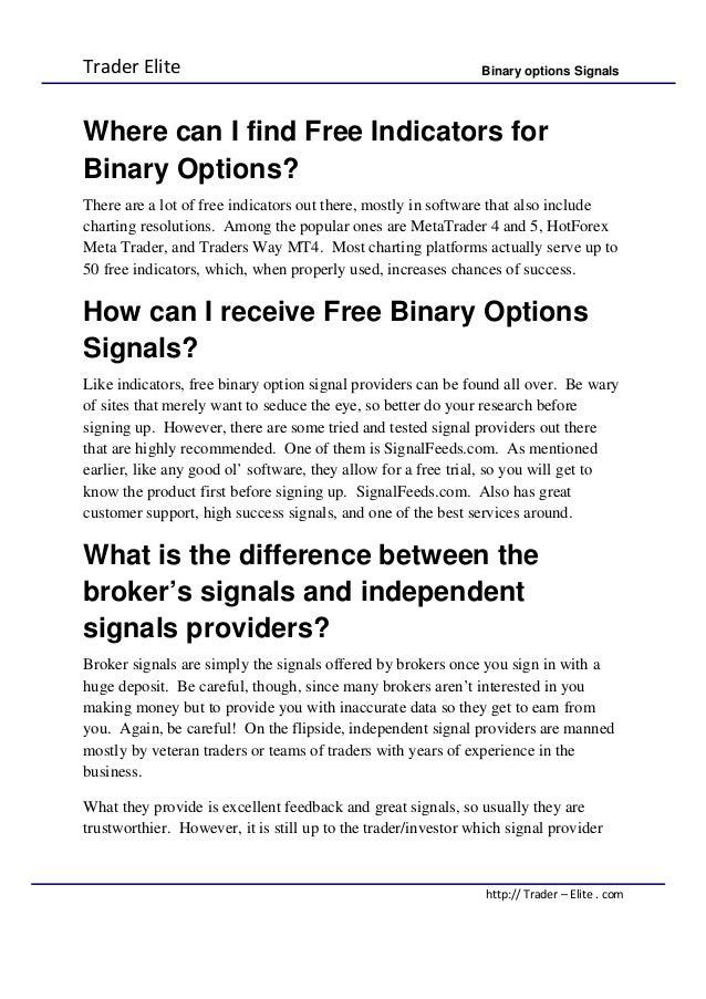 Binary option indicator trade elite v1.0
