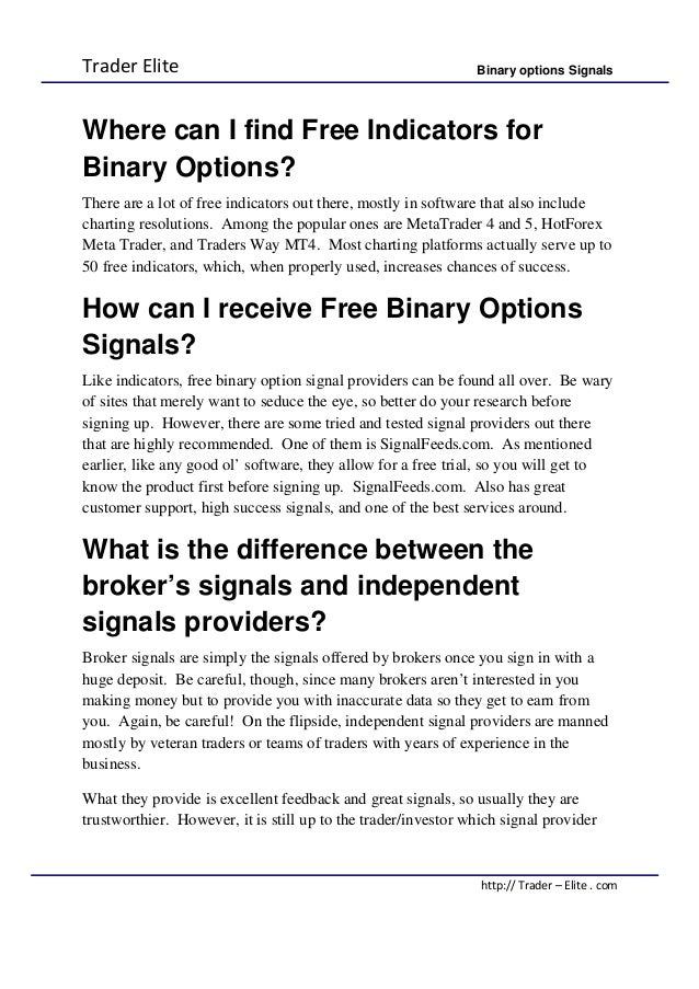 Binary options signals accurate