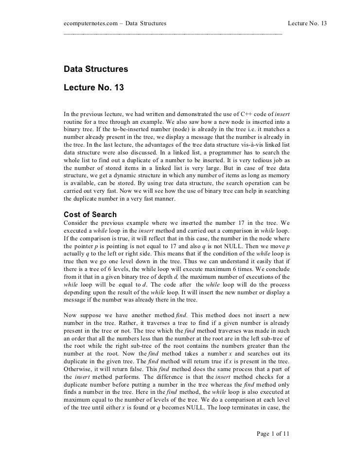 ecomputernotes.com Data Structures                                  Lecture No. 13________________________________________...
