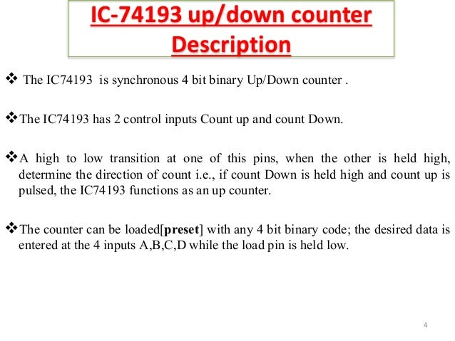 binary up and down counter using ic 741934 ic 74193 up down counter