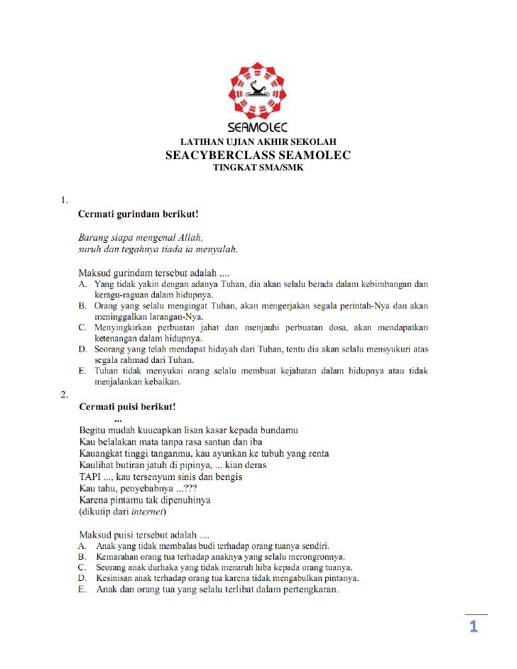 LATIHAN UJIAN AKHIR SEKOLAH      SEACYBERCLASS SEAMOLEC            TINGKAT SMA/SMK   1.     2.                            ...