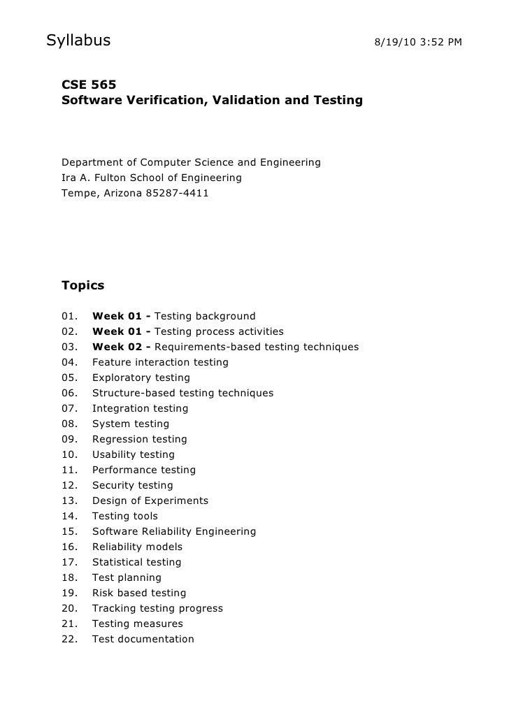 Syllabus                                                 8/19/10 3:52 PM     CSE 565  Software Verification, Validation an...