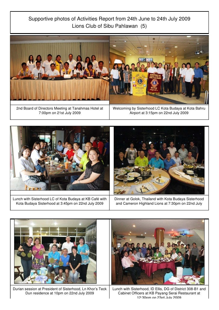 Supportive photos of Activities Report from 24th June to 24th July 2009                            Lions Club of Sibu Pahl...