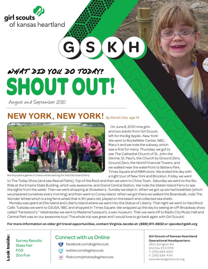 G S K H          August and September 2010       NEW YORK, NEW YORK! By Randi Cloe, age 14                                ...