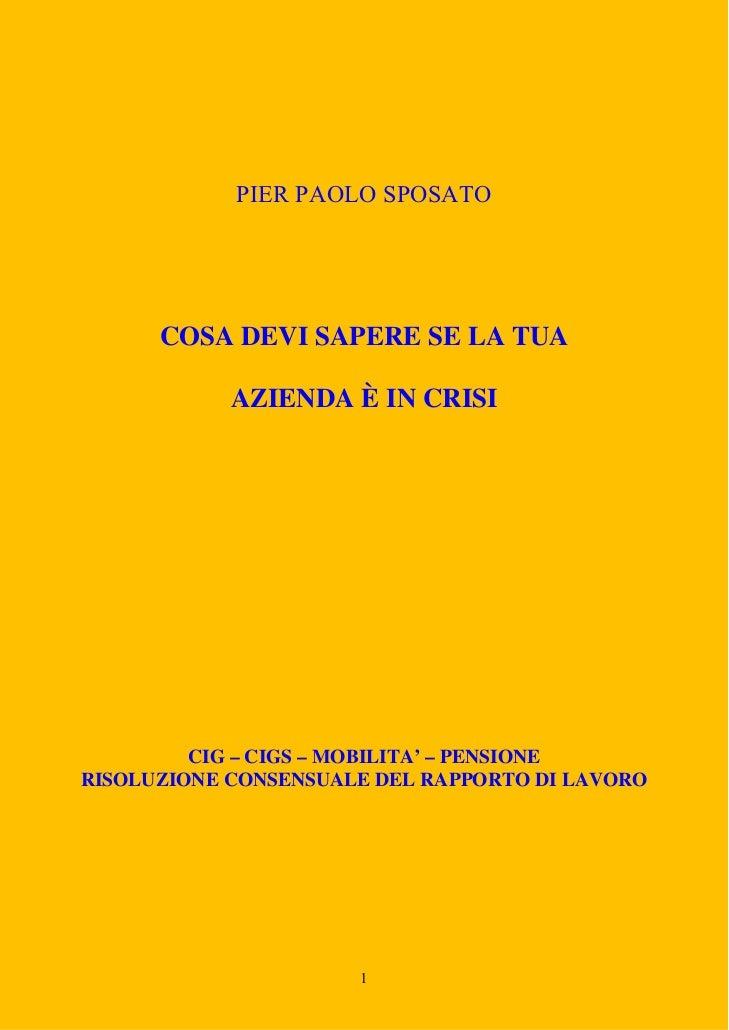 PIER PAOLO SPOSATO      COSA DEVI SAPERE SE LA TUA            AZIENDA È IN CRISI         CIG – CIGS – MOBILITA' – PENSIONE...