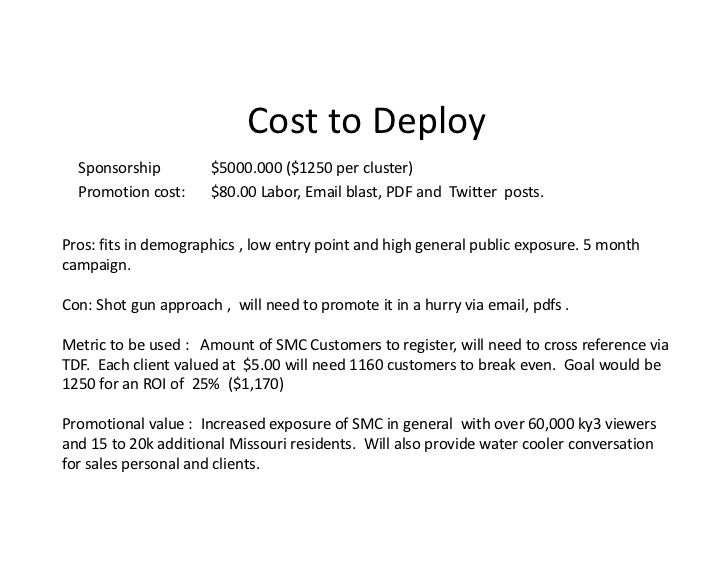 Cost to Deploy  Sponsorship         $5000.000 ($1250 per cluster)  Promotion cost:     $80.00 Labor, Email blast, PDF and ...