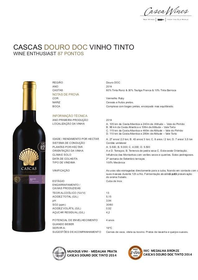 CASCAS DOURO DOC VINHO TINTO WINE ENTHUSIAST 87 PONTOS COR pH REGIÃO Douro DOC ANO 2014 CASTAS 60% Tinta Roriz & 30% Touti...